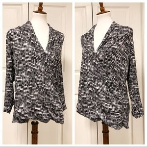 CHAUS NEW YORK FAUX WRAP BLOUSE